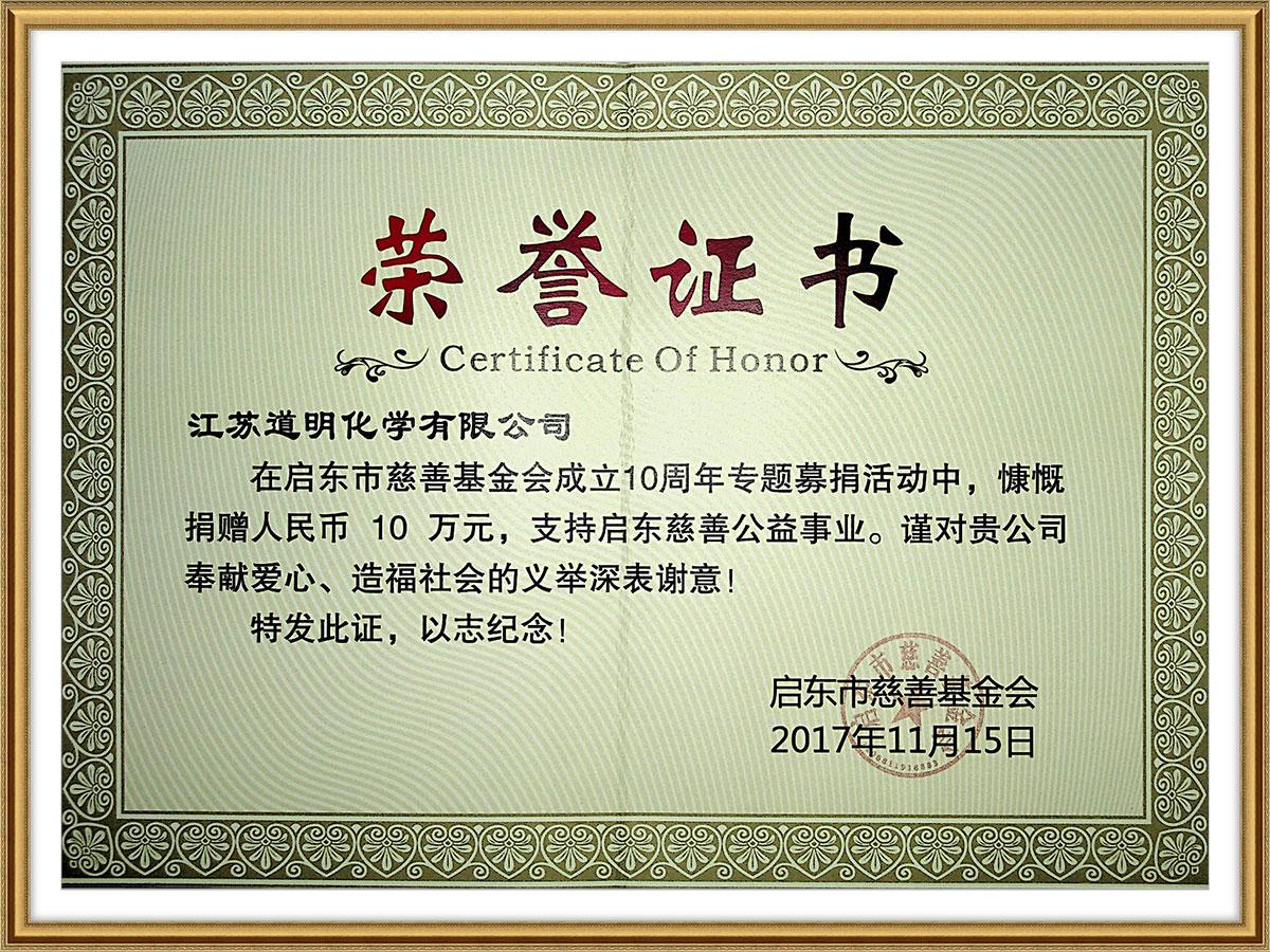 啟東市慈善基金會榮譽證書