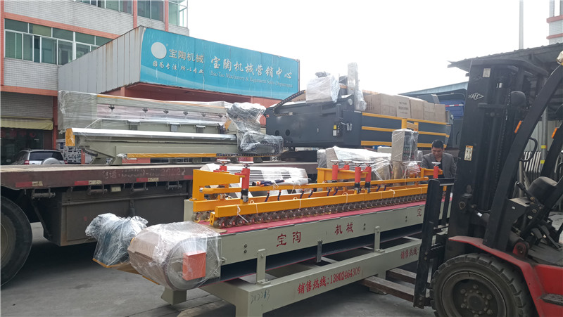 2021年1月AC4020水刀及自動型巖板臺面馬肚磨邊機等巖板機器發貨湖南湘潭