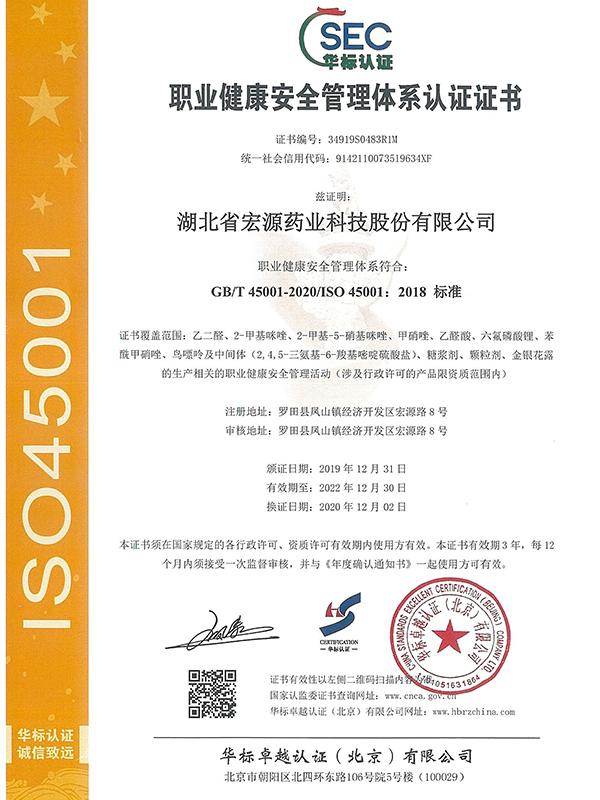 中文职业健康安全管理体系认证证书(20201202-20221230)