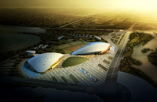 穹頂展示——中國現代五項賽事中心黃昏鳥瞰圖