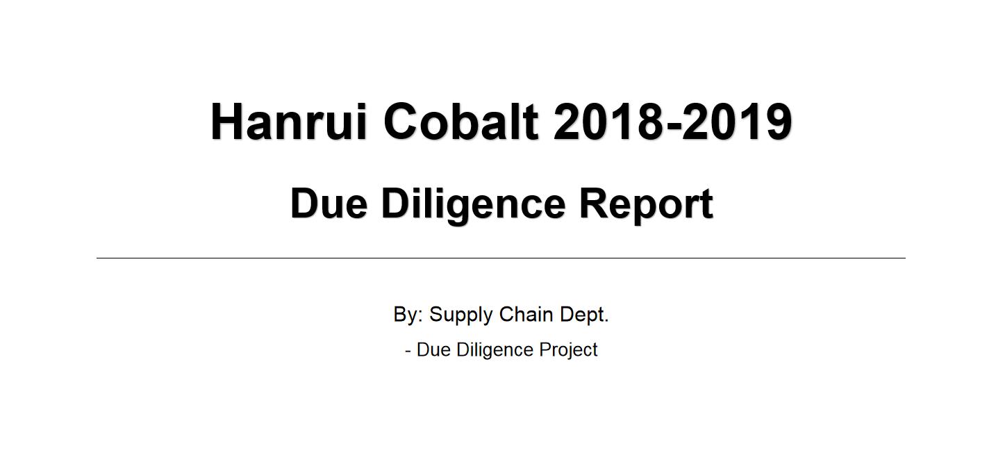 Hanrui Cobalt 2018-2019 Due Diligence Report