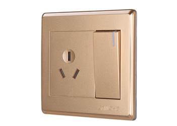 一位大按鍵開關三極插座