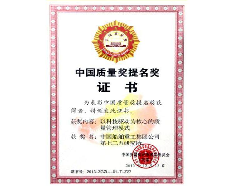 中國質量獎提名獎