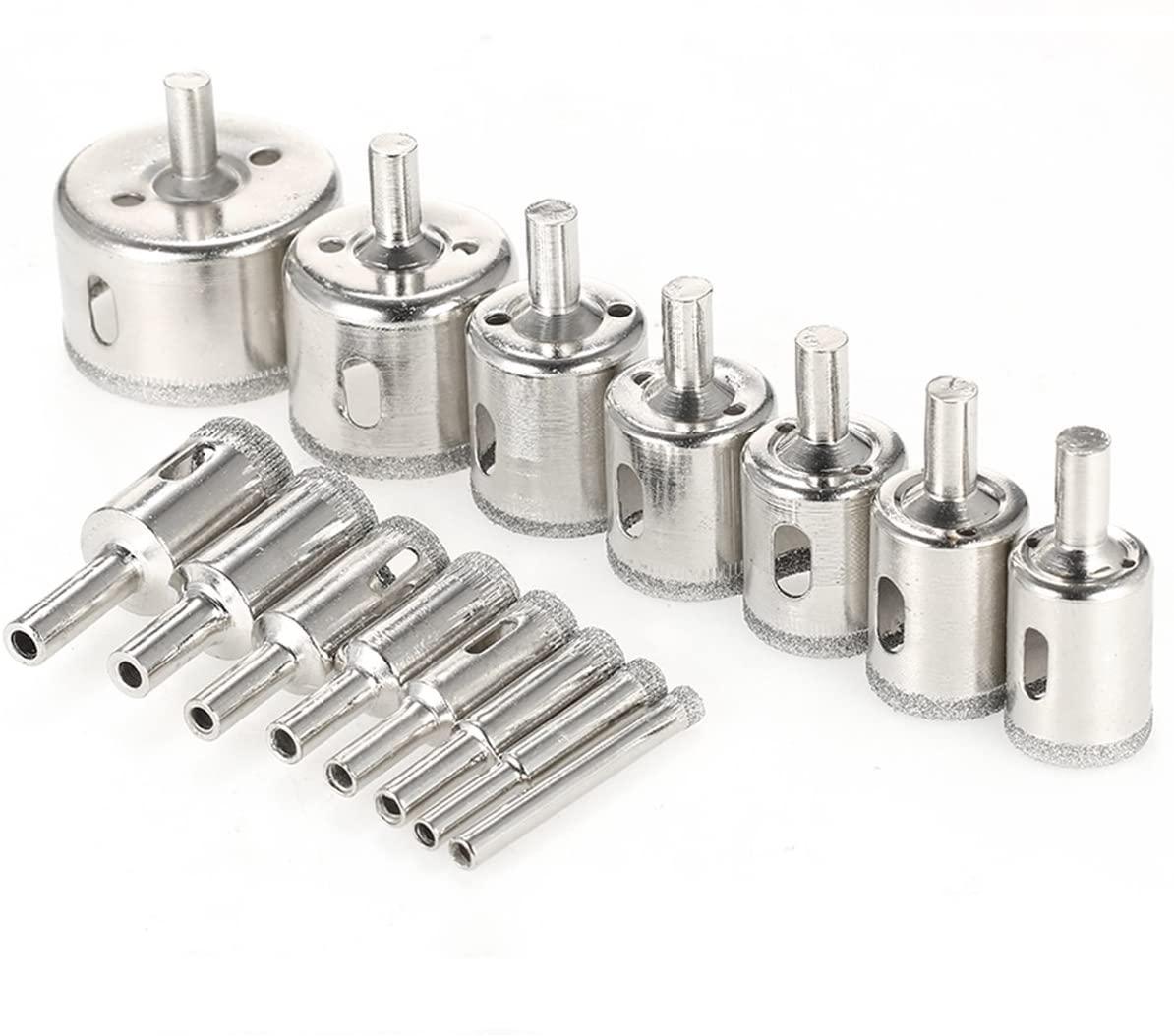 15 PCS Electroplated Diamond Core Drill Bit Set for Ceramic, Glass, Porcelain Tile