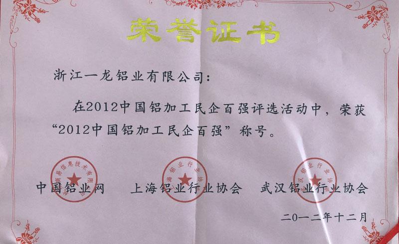 2012中国铝加工民企百强