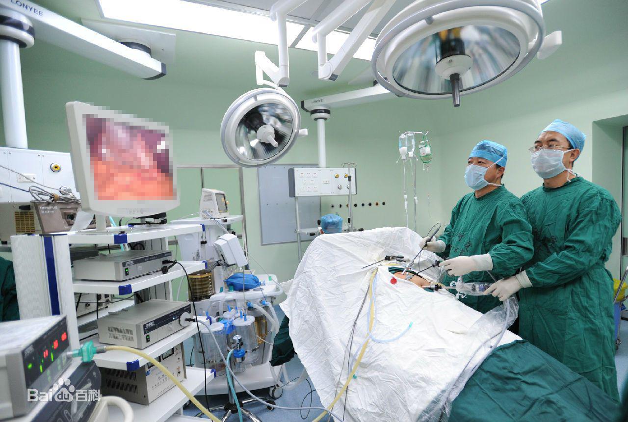 手術醫師通過監視腔鏡切割供應商屏幕檢查盆