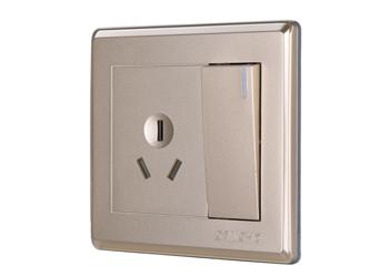一位大按鍵開關三極扁插座